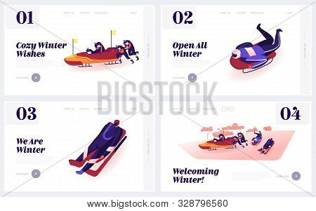 Outdoors Athletics Skeleton And Bobsleigh Sports Activity Website Landing Page Set. Sportsmen Going