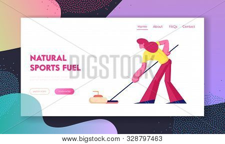 Curling Competition Website Landing Page. Sportswoman Using Equipment For Curling Holding Brush To P