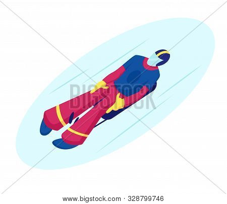 Skeleton Sport. Athlete In Sportswear And Helmet Lying On Sleigh Face Up Descend On Ice Track Sports