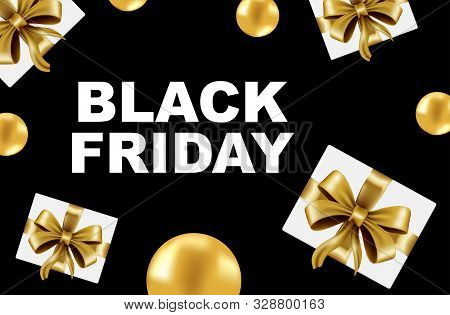 Celebration Balloon Sales Black Friday On A Black Background. Balloons Black Friday. Gold Balloons W
