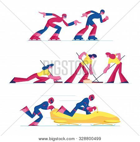 Set Of Curling, Speed Skating And Bobsleigh Sports Competition Isolated On White Background. Sportsm