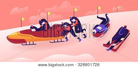 Outdoors Athletics Sports Activity Concept. Bobsleigh And Skeleton Winter Sport Competition Racing.