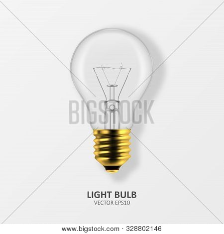 Vector 3d Realistic Golden Off Light Bulb Icon Closeup Isolated On White Background. Design Template
