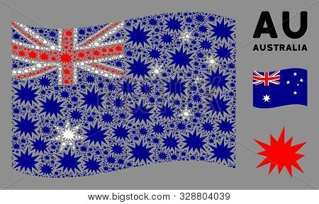 Waving Australia Official Flag. Vector Bang Elements Are Placed Into Conceptual Australia Flag Compo