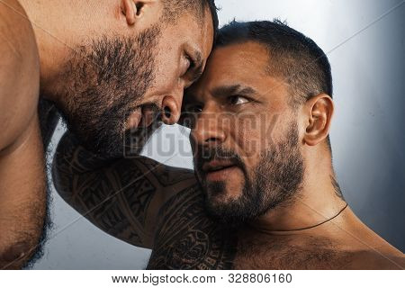 Two Sexy Gays In Passion. Closeup Portrait Of Handsome Topless Male Models. Relationship