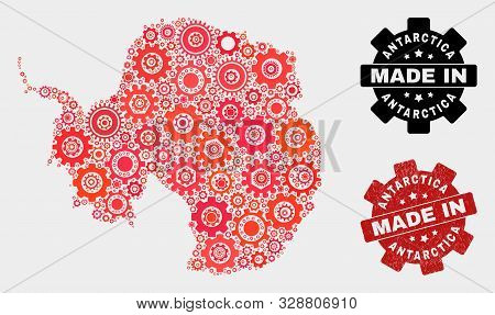 Mosaic Gear Antarctica Continent Map And Grunge Stamp. Vector Geographic Abstraction In Red Colors.