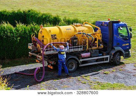 Skutc, Czech Republic - October 16 2019: Sewer Pumping Machine. Sewage Tank Truck.
