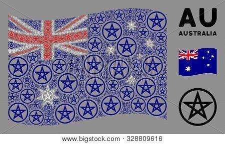 Waving Australia Flag. Vector Star Pentacle Design Elements Are Arranged Into Conceptual Australia F
