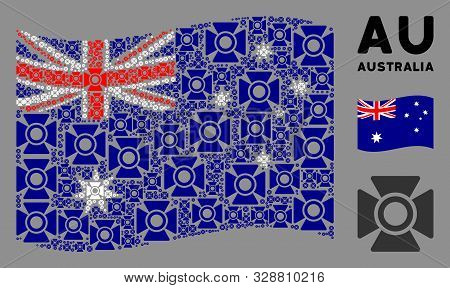 Waving Australia Official Flag. Vector Searchlight Design Elements Are Placed Into Mosaic Australia