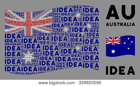 Waving Australia State Flag. Vector Idea Text Elements Are United Into Conceptual Australia Flag Com