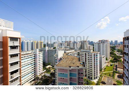Singapore-16 Jun 2018:singapore High Density Residential Building Hdb Aerial Day View
