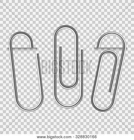 Paperclip On Paper. Silver Notepapers Fix Clip Appliance And Holders Blank Sheets Vector Isolated Re