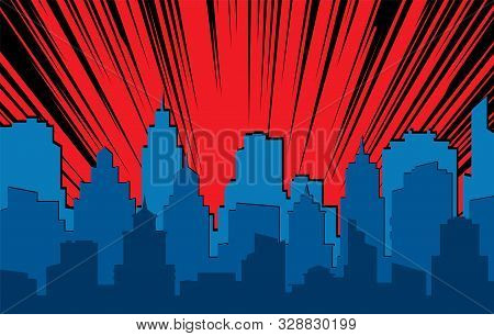 Comic Cityscape. Retro Urban Silhouette Of City Buildings For Art Book Comics With Light Effects Vec