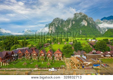 Aerial View Of Beautiful Landscapes At Vang Vieng , Laos. Southeast Asia. Photo Made By Drone From A