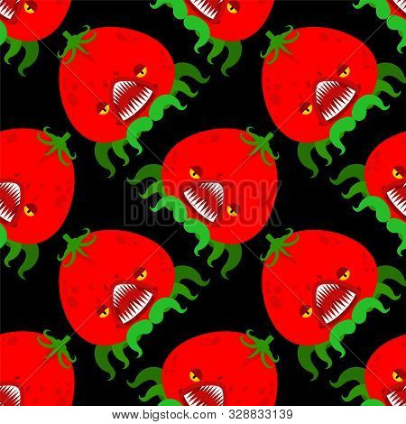Tomato Monster Pattern Seamless. Gmo Mutant Background. Angry Vegetable With Teeth Ornament. Hungry