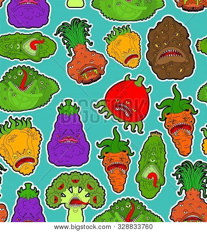 Vegetables Monster Pattern Seamless. Vegetable Gmo Mutant Background . Genetically Modified Tomato A