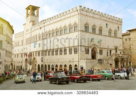 Perugia, Italy - September 29, 2019: Panoramic View Of The Piazza Iv Novembre Square In Perugia Hist