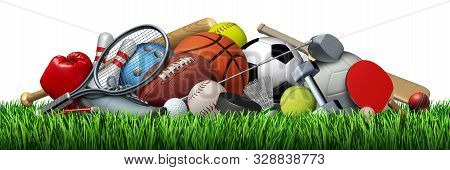 Sports Equipment And Sport Objects With A Football Basketball Baseball Soccer Tennis And Golf Ball A