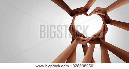 Unity And Diversity Partnership As Heart Hands In A Group Of Diverse People Connected Together Shape