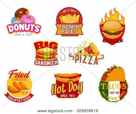 Fast Food Icons Of Vector Burger, Pizza And Hamburger, Sandwich, Hot Dog And Mexican Taco, Fried Chi