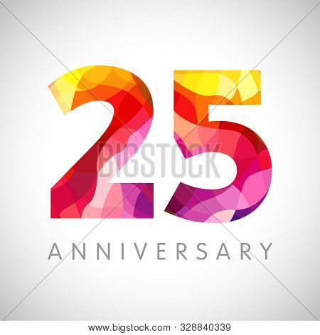 25 Th Anniversary Numbers. 25 Years Old Multicolored Logotype. Age Congrats, Congratulation 3d Idea.