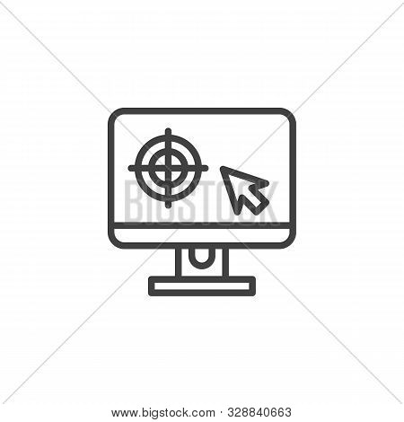 Monitor Calibration Line Icon. Linear Style Sign For Mobile Concept And Web Design. Computer Monitor