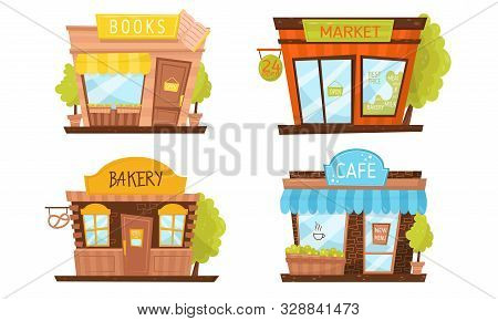 Shop Building Facade Vector Illustrated Set. Elements Isolated On White Background