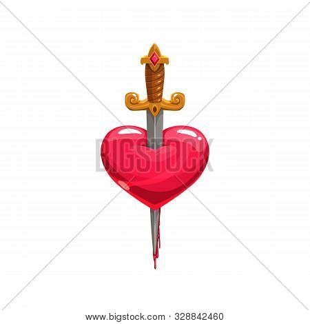 Sword In Bleeding Heart Isolated Tattoo Design. Vector Symbol Of Love Stabbed By Dagger