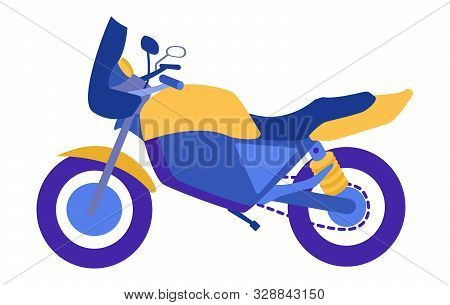 Side View Sports Bike Hornet Blue And Yellow Isolated On White Background In Vector Modern Flat Styl