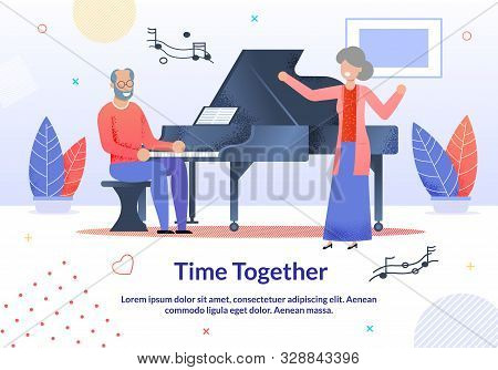 Time Together For Elderly People Promotion Cartoon Poster. Senior Man Playing Piano Musical Instrume