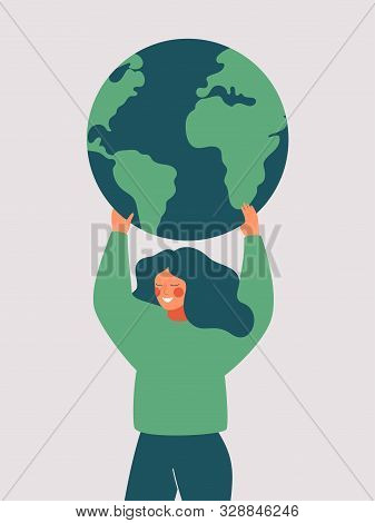 Happy Woman Holds The Green Planet Earth. Vector Illustration Of Earth Day And Saving Planet. Enviro