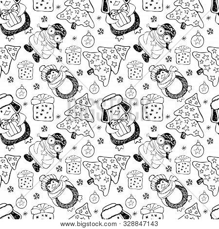 Seamless Pattern Cute Cartoon Penguins Around The Christmas Tree With Gifts. Winter Background On Ch