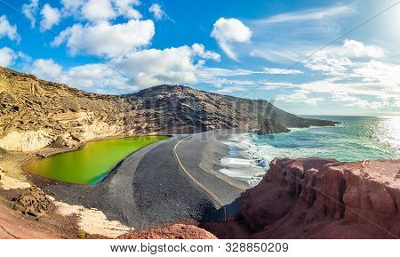 Landscape With Unique Lago Verde And Black Sands At El Golfo Beach, Lanzarote, Canary Islands, Spain