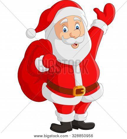 Vector Illustration Of Cartoon Santa Claus Carrying Sack