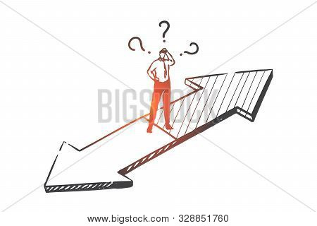 Decision Making Concept Sketch. Businessman Choosing Company Development Strategy, Leader On Crossro