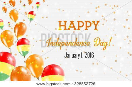 Bolivia Independence Day Greeting Card. Flying Balloons In Bolivia National Colors. Happy Independen