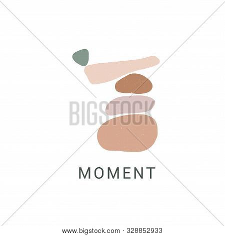 Enjoy Moment Flat Vector Illustration. Motivational Drawing With Zen Stones