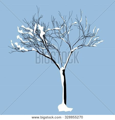 Bared Tree With Snow On It. Single Tree In Winter. Vector Illustration.