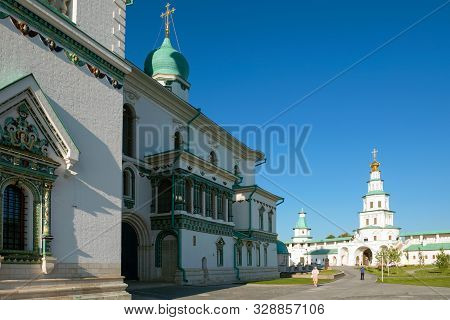 New Jerusalem, Istra, Russia - August 29, 2019: Tiled Decor Of The Cathedral Of The Resurrection Of