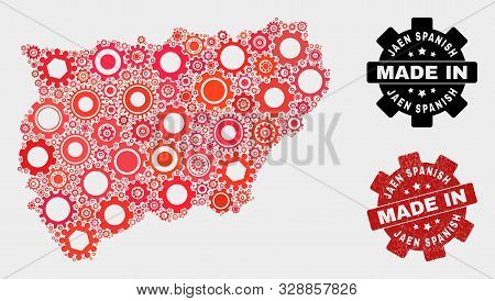 Mosaic Gear Jaen Spanish Province Map And Scratched Stamp. Vector Geographic Abstraction In Red Colo