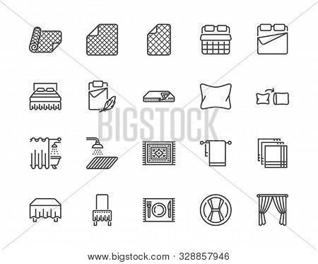 Linen Flat Line Icons Set. Bedroom Textile Blanket, Bed Mattress Cover, Pillow, Pillowcase, Handkerc