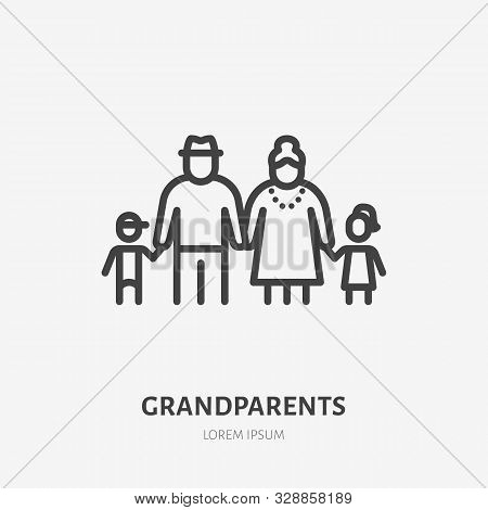Family Line Icon, Vector Pictogram Of Grandparents With Grandchildren. Young Boy And Girl With Elder
