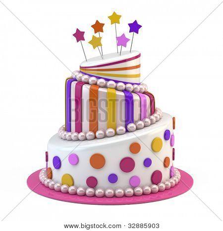 Big holiday cake isolated on white