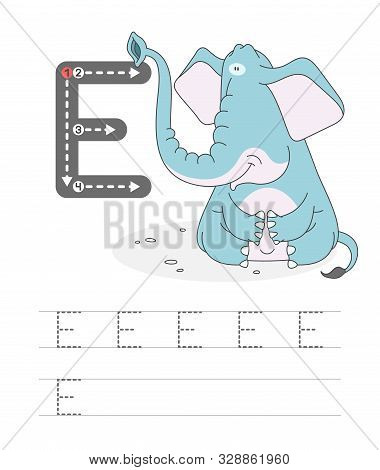 Learning To Write A Letter - E. A Practical Sheet From A Set Of Exercises Game For Kids. Cartoon Fun