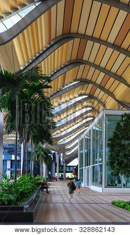 Singapore-05 May 2018:singapore South Beach Tower Ground Pedestrian Corridor