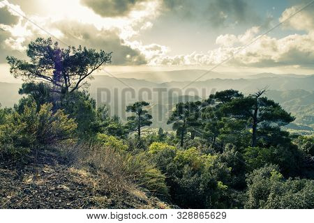 Pano Platres In Troodos Mountains, Cyprus, Clouds And Nature Forming A Landscape