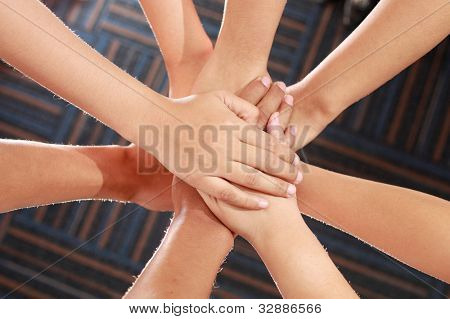 Group of hands, family love, support, help, charity