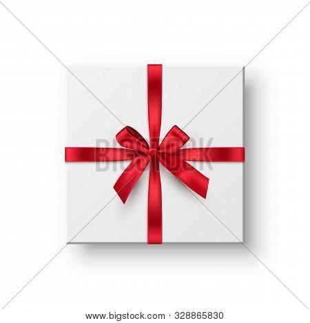Gift Box, Present Realistic Vector Illustration. Birthday, Christmas Holiday, Wedding Anniversary Ce