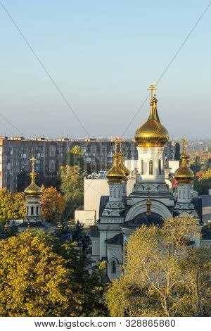 Donetsk, Ukraine, October 3, 2019 Year. Trinity Cathedral And Temple Of St. Blessed Xenia Of Petersb