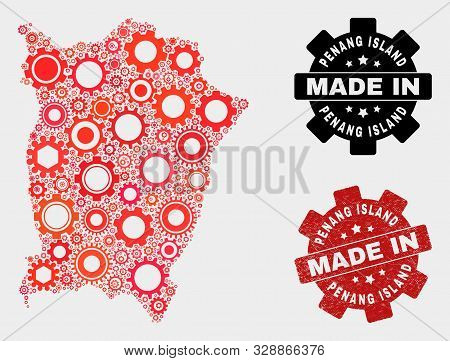 Mosaic Gear Penang Island Map And Grunge Seal. Vector Geographic Abstraction In Red Colors. Mosaic O